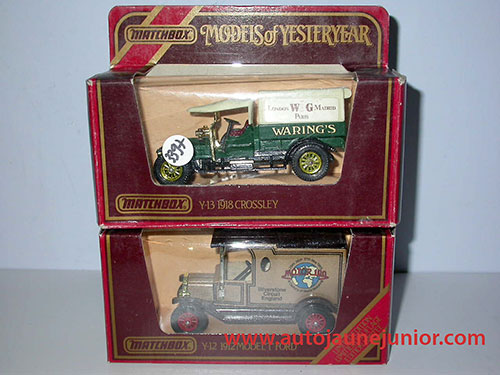Matchbox Ford T 1912 et Crossley 1918